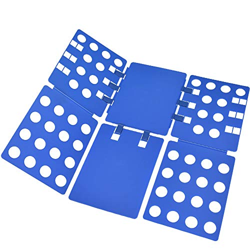 4th Generation Large Adult Springy Magic Clothes T-shirts Laundry Folder Organizer Flip Fold Fast Speed Folding Board - Now with Adjustable Buckle A008 (#Blue)