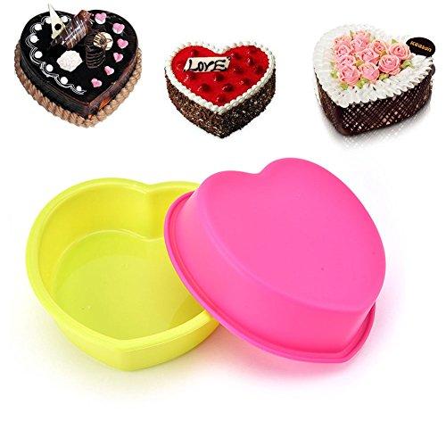 lzndeal 1 pcs Moule à Fondant en forme de coeur résistant à la chaleur Moule de gâteau en Silicone Réutilisable Couleurs aléatoires
