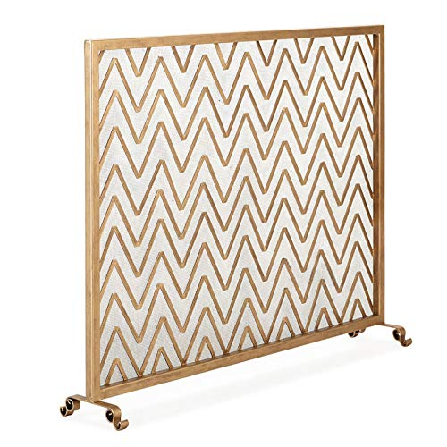 xiaokeai Spark Guard Retro Style Fireplace Screen with Ripple Stripe Decoration Wrought Iron Metal Fire Place Standing Gate Decorative Spark Guard Cover Outdoor Tools Accessories Spark Protection