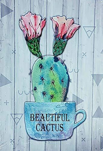 MR Cuadro de Madera Vintage Cactus, 37x26x1 cms