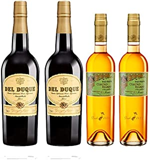 Vinos Amontillados Fino Cuatro Palmas y Del Duque - D.O. Jerez - Mezclanza Gonzalez Byass (Pack de 4 botellas)