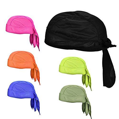 Sombrero de Ciclismo Secado Rápido,Gorra de Pañuelo de Cabeza de Ciclismo Ajustable Bandana Cap Transpirable Bufanda Pirata Gorra para Deportes Moto al Aire Libre Hombre Mujer(Azul Real)