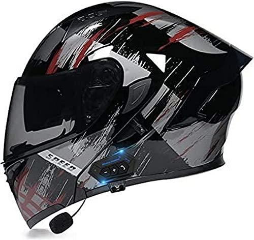 XLYYHZ Casco modular de motocicleta con Bluetooth integrado Mp3 sistema de comunicación de intercomunicador integrado y auriculares de doble altavoz, aprobado por DOT, con doble visera G, XL