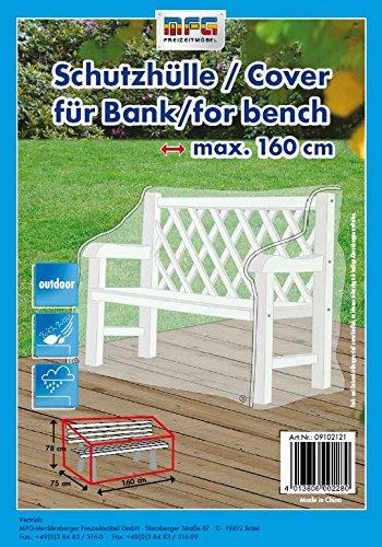 MFG Reißfeste XXL Schutzhülle für eine 3er Gartenbank, transparent, 75x78x160 cm, in praktischer Tragetasche