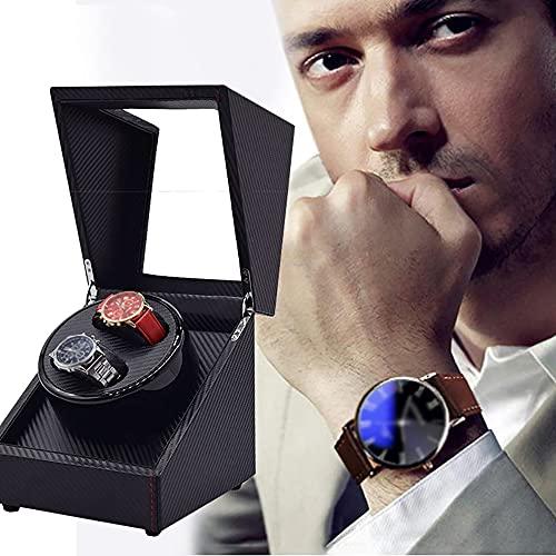 ZXZXZX Watch Winder Caja Giratoria para 2 Relojes Automatico Caja de Enrollador Reloj Cuero PU Caja de Joyería con Motor Silencioso Estuche Rotación Caja de Almacenamiento (Sin Reloj)