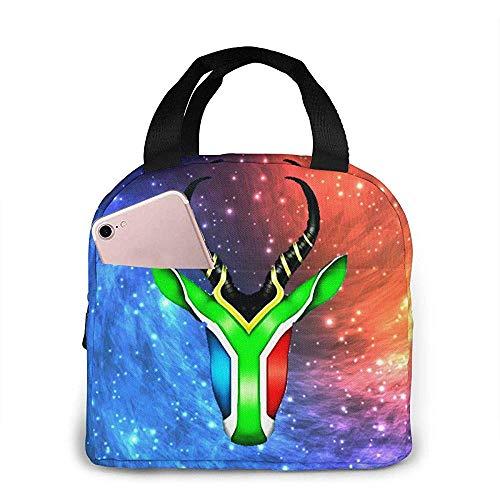 Lunch-Tasche,Springbock-Flaggen-Schädel-Einzigartige Stilvolle Mittagessen-Taschen Für Das Kinderreiseklettern 20x21x13cm