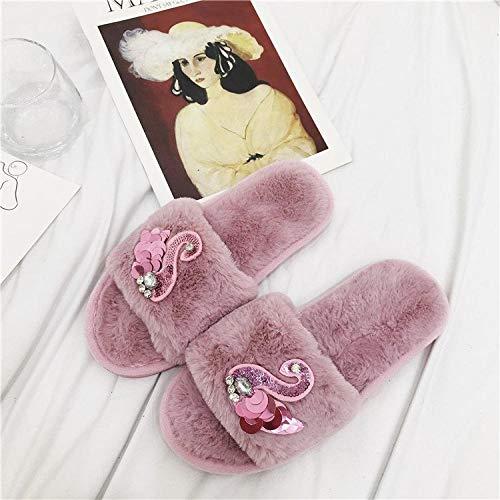 SWX-FlipFlop Zapatillas de otoño e Invierno de Dibujos Animados Zapatillas de Diamantes de imitación de Fondo Plano hogar algodón Arrastre Rosa 36/37