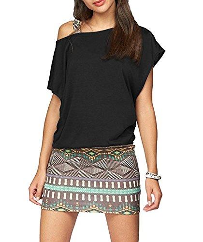 Minetom Damen Ohne Arm Kleid aus Oversize Shirt 2-in-1(Set 2 TLG) Sommer Minikleid Standkleid B Grün DE 40