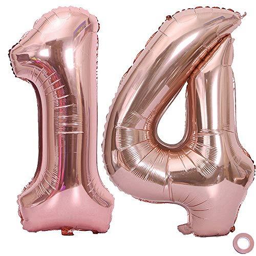 Juland Luftballon Zahl 14. Geburtstag XXL Riesen Folienballon Zahl Rosegold Geburtstag Folienballon Helium Folie Pinke Luftballons für Geburtstag Jubiläum 40 Zoll - Riesenzahlen #14