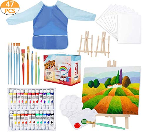changhao Complete Kid's Art Set 47-Piece Acrylic Paint Set Early Learning Artist Paint Set with Exquisite Box for Kids Creative Drawing, Art Canvas Painting