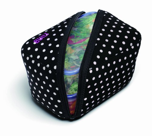 BUILT NY Bento Lunch Container with Neoprene Sleeve, Mini Dot Black & White