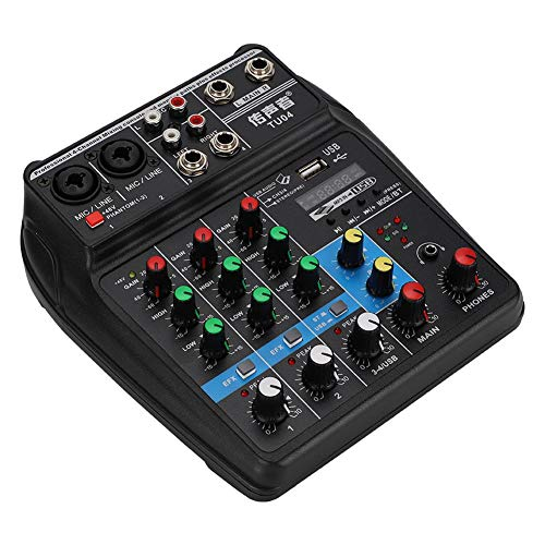 Audio Mixer Sound Board, Mini USB 4 Channel Bluetooth Audio Mixer, Live Studio Audio Mixing Console with Effects for Home Music Production, webcast, K Song, 100-240V(US)