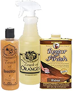 Complete Wood Restoration Kit, Wood Floor Restorer, Orange Oil Cleaner 32 oz, Beeswax Furniture Polish 16 oz, Restore A Finish 16 oz, Cover Scratches and Blemishes (Golden Oak)