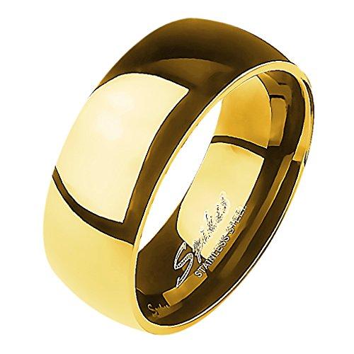 Mianova Band-Ring Edelstahl Herrenring Damenring Partnerring Trauring Verlobungsring Damen Herren Gold Größe 60 (19.1) Breit 8mm