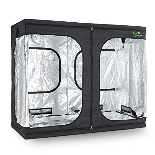 OneConcept Eden Grow XL - Grow box, Grow tent, Size L, 240 x 120 x 200 cm, Opaque fabric, Two entrances, Two ventilation access points, Air supply flaps, Reflective inner coating, Black