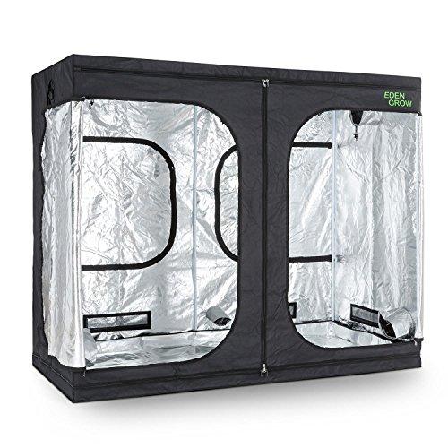 oneConcept Eden Grow XL - Tenda per Coltivare, Growbox, Armadio Grow, 240 x 120 x 200 cm, Due Prese di Ventilazione, Rivestimento Interno Riflettente, Vaschetta Pavimento Impermeabile, Nero