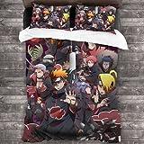 Amacigana Ropa de cama infantil Naruto de 135 x 200 cm, con dibujos animados, juego de cama doble para adolescentes Student Boys Uzumaki 200 x 220 cm (Naruto9,200 x 220 cm/80 x 80 cm)