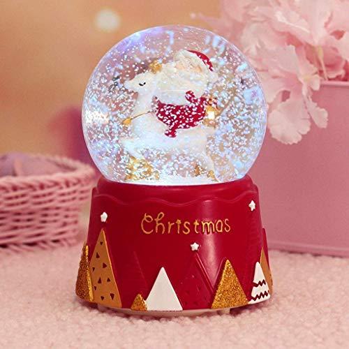S&C Live クリスマススノードーム オルゴール 癒し 雪降り 光るledライト付 粉雪が舞うライトアップ ...
