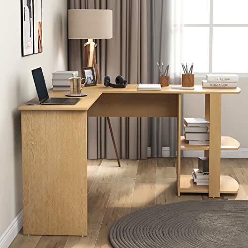 belupai Escritorio de esquina en forma de L de MDF con 2 estantes, para oficina/hogar, escritorio ampliado, 140 x 50 x 75 y 140 x 40 x 75 cm (color madera)