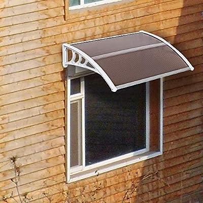 "Window Door Awning with Aluminum Bracket,Household Application Door Window Rain Cover Eaves Canopy (78.74"" x 39.37"" x 9.84"")"