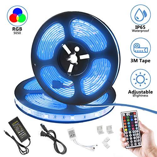 LED Strip Lights, DALNOS 32.8ft RGB SMD 5050 300LEDs LED Light Strip Waterproof Flexible Color Changing with 44-Keys IR Remote Controller & 12V Power Supply for Home Kitchen Bedroom