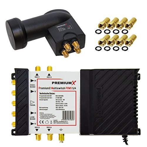 PremiumX Multischalter Set 5/4 Multiswitch Quattro LNB 8X F-Stecker, Satverteiler 1 SAT für 4 Teilnehmer HDTV FullHD 4K UHD 8K