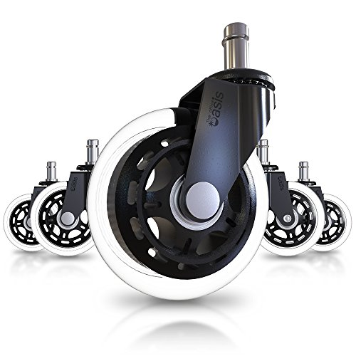 Office Chair Caster Wheels (Set of 5) - Heavy Duty & Safe for All Floors Including Hardwood - Perfect Replacement for Desk Floor Mat - Rollerblade Style w/Universal Fit