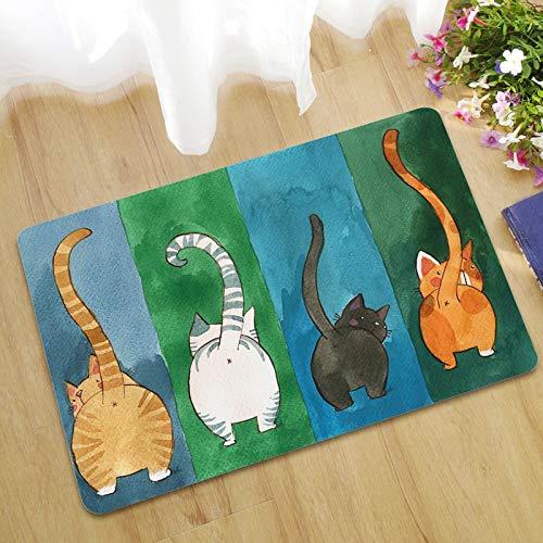 YLCCC Alfombra con Patrón De Gato, Moderno Color Diseño Linda Absorbente Antideslizante Decoraciones Caseras Carpets Entrada Dormitorio Mascotas Almohadilla,45x75