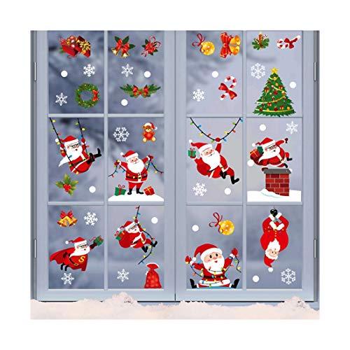 HEVÜY Weihnachten Aufkleber Weihnachten Fensterbild Abnehmbare Fensterdeko Statisch Haftende Aufkleber Winter Dekoration Santa Claus Elk Scene Layout Farbige statische Aufkleber