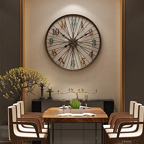 60cm Orologio da Parete Grande Orologio da Muro Vintage Silenzioso Metallo Design Moderno Orologio da Parete, Modello di Ruota di Bicicletta Metallo Orologio Appeso