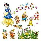 decalmile Blanca Nieves Y Los Siete Enanos Princesa Pegatinas De Pared Hada Desmontable Adhesivos Pared Decorativos para Niños Infantiles Habitación Vivero