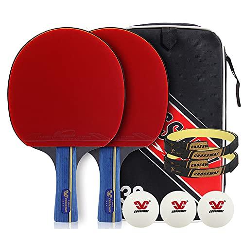 LINGOSHUN Juego de Raquetas de Ping Pong,Raquetas de Tenis de Mesa para Principiantes de 3 Estrellas para Actividades Familiares / 2 Player Set/A