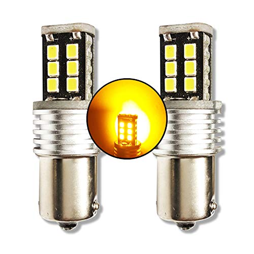 MCK Auto - Remplacement pour P21W 1156 BA15S LED Ensemble d'ampoules orange très clair et sans erreur compatible avec F10 F20 F30