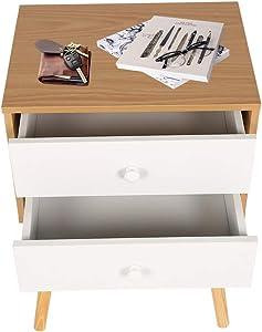 Happy Home Table de chevet moderne avec 2 tiroirs et table de chevet-40x30x60cm