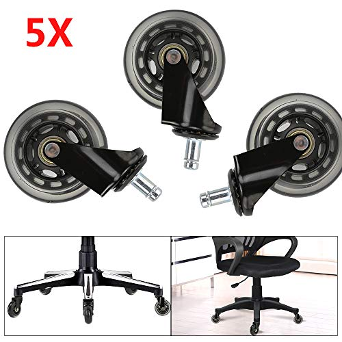 BALLSHOP 5X Hartbodenrollen Bürostuhlrollen Stuhlrollen Ø 75mm Rollen für Schreibtischstuhl Bürostuhl Ersatzrollen