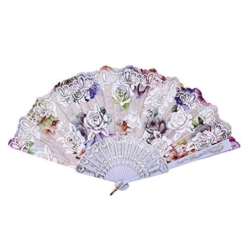 XINTIAN Abanicos de flores vintage con estampado de rosas estilo chino, baile, boda, fiesta,...
