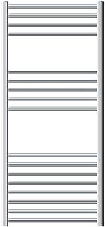 Asciugabiancheria 600x1200 mm 900W ECD Germany Radiatore Scaldasalviette Elettrico 900W Termoarredo da Bagno Moderno in Acciaio Cromato Dritto con Attacco Laterale 600 x 1200 mm Cromato