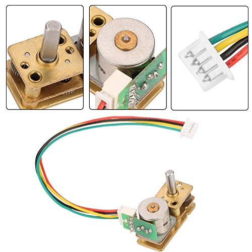 DC 5V Mini Gear Motor 2 Phase 4 Wire All Metal Stepping Gear Motor Speed Reduction Motor Electric Gear Box Motor (DC5V 10RPM)