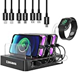 105W Charging Station for iPhone 12, iPad Pro,USB-C Laptop,MacBook Pro/Air,Samsung,Multiple Devices,COSOOS 6-Port USB Charger Station with Power Delivery USB-C, 7 Mixed USB Cable,iWatch Stand