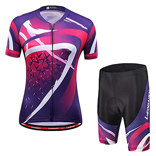 DNJKH Ropa de Ciclismo para Mujer Conjunto de Jersey de Ciclismo Profesional, Ropa Deportiva Anti-UV para Ciclismo de Montaña