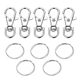 5 Set Key Chain Key Rings Metal Swivel Clasps Snap-On Keychain Ring Hook Spring Clip Snap Hook Lobster Clasp for Keys, Lanyards Jewelry Findings, Round Edged