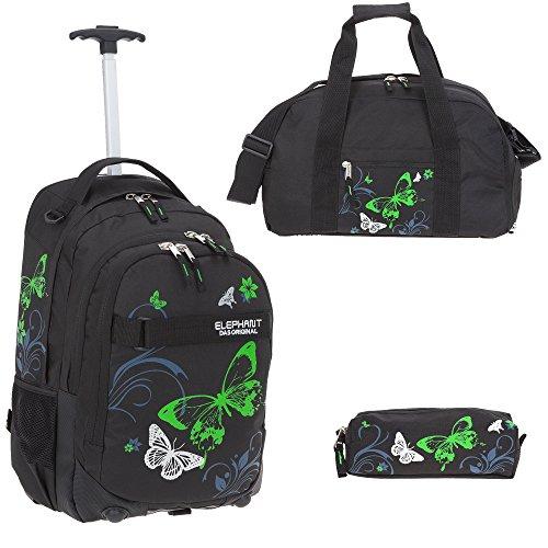 3 Teile Set: ELEPHANT Trolley Hero Signature Trolleyrucksack + Sporttasche + Mäppchen Motiv 12680 (Butterfly Black Green)