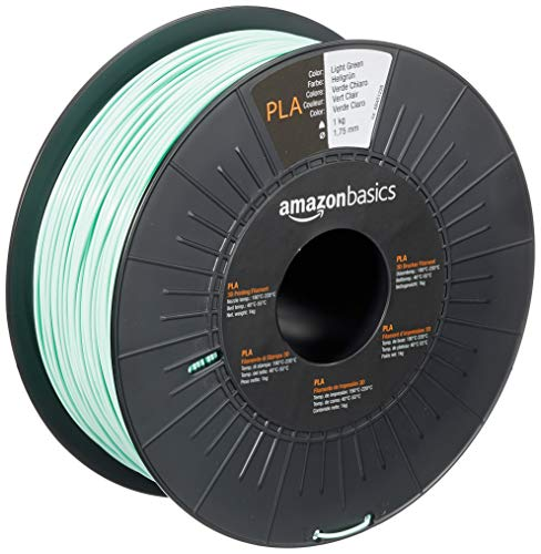 AmazonBasics - Filamento para impresora 3D, ácido poliláctico (PLA), 1.75 mm, cinta de 1 kg, verde claro