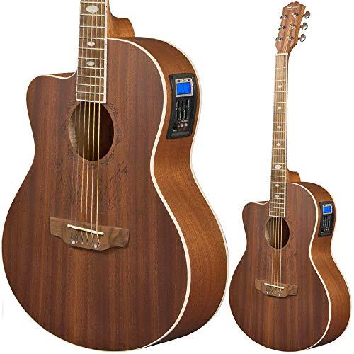 Lindo Elektroakustische Gitarre für Linkshänder, mit Vorverstärker, EQ – Sapeli, inkl. gepolsterter Gigbag