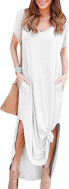 ZICUE Womens Short Sleeve Split Long Maxi Dress V Neck Loose Long Dress with Pockets Plus Size S-2XL