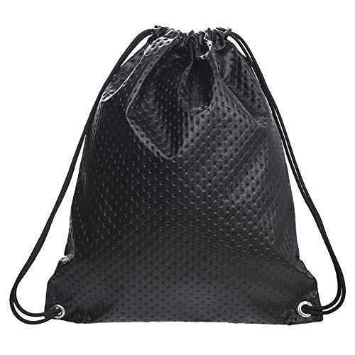 whatUneed Bolsas con cordón para Hombre Mujer, Mochila de Cuero Bolsa Gym Mochila Gymsack Deportes de Viaje al Aire Libre Sackpack para Adultos (Negro)