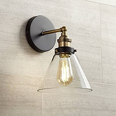 "Burke Industrial Farmhouse Wall Light Sconce LED Edison Black Warm Brass Hardwired 10 3/4"" High Fixture Cone Clear Glass for Bedroom Bathroom Hallway - 360 Lighting"