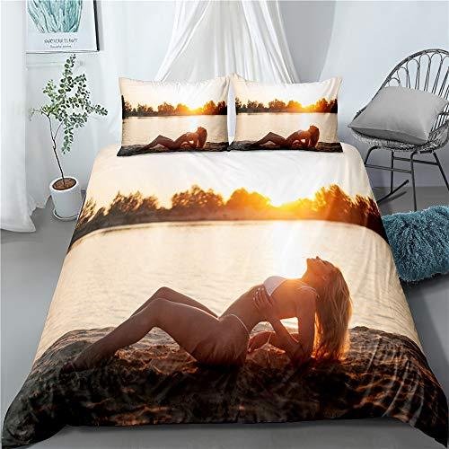 SUNHAON 2/3 Stück Sexy Girl Bettwäsche-Set, Bikini Frauen Bettbezug 3D-Druck, Für Schlafzimmer Bett Bettbezug Sunset Landscape Cover Set Einzel (135x200cm)
