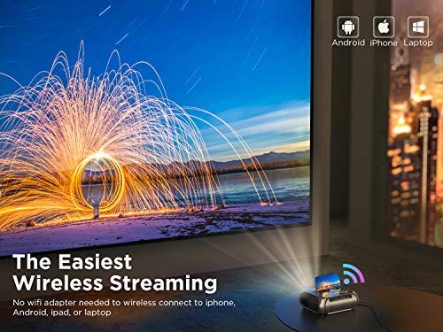 Proyector WiFi BOMAKER Mini Projector Portátil 6000 Lúmenes Full HD 1080P y 300 'Compatible, Proyector Inalámbrico y con HDMI y AV para iOS / Android / TV Stick / PS4 / PC en Casa y Exterior S5