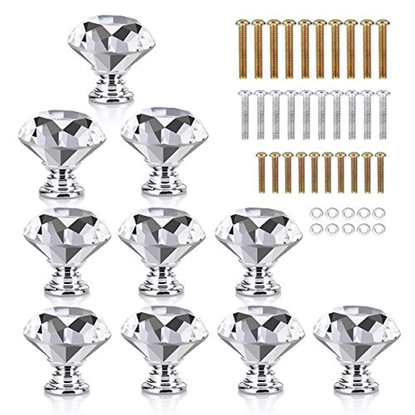 HOMEIDEAS 10PCS 30MM Crystal Knobs Glass Cabinet Drawer Knobs Diamond Shape Cabinet Pulls Handles with 3 Different Size Screws for Home, Bathroom Cabinet, Cupboard Drawer and Dresser (Clear)